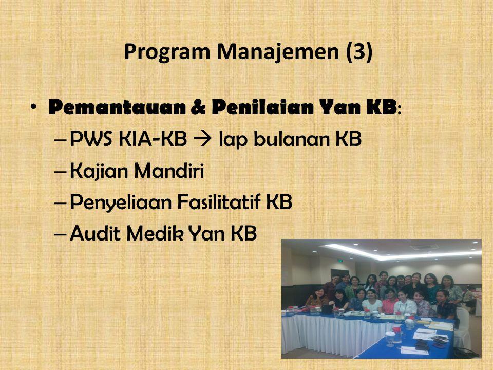 Program Manajemen (3) Pemantauan & Penilaian Yan KB : – PWS KIA-KB  lap bulanan KB – Kajian Mandiri – Penyeliaan Fasilitatif KB – Audit Medik Yan KB