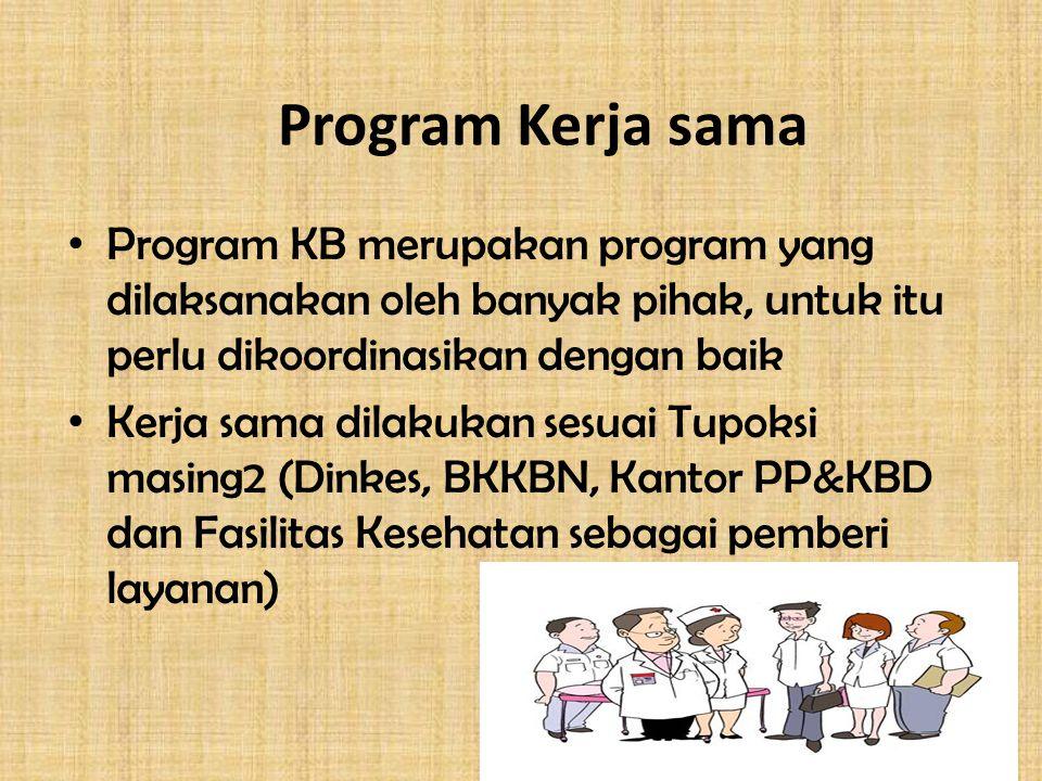 Program Kerja sama Program KB merupakan program yang dilaksanakan oleh banyak pihak, untuk itu perlu dikoordinasikan dengan baik Kerja sama dilakukan sesuai Tupoksi masing2 (Dinkes, BKKBN, Kantor PP&KBD dan Fasilitas Kesehatan sebagai pemberi layanan)