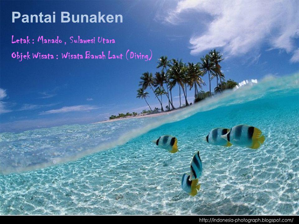 Pantai Bunaken Letak : Manado, Sulawesi Utara Objek Wisata : Wisata Bawah Laut (Diving)