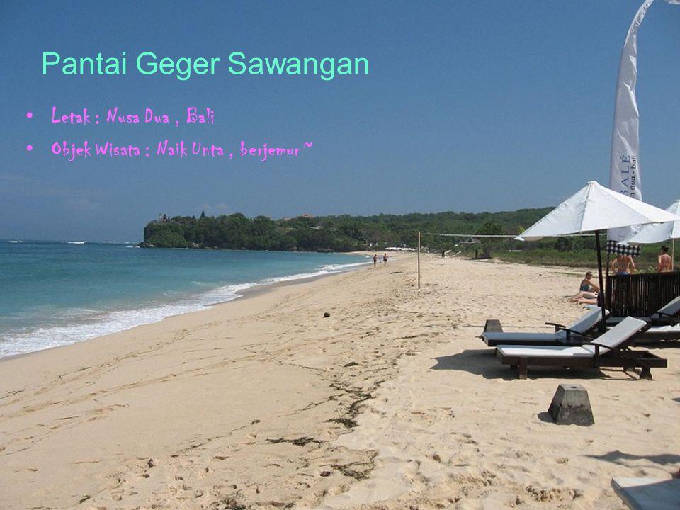 Pantai Geger Sawangan Letak : Nusa Dua, Bali Objek Wisata : Naik Unta, berjemur ~