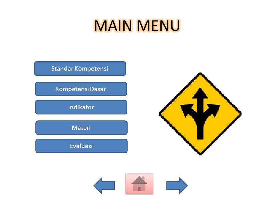 Standar Kompetensi Kompetensi Dasar Indikator Materi Evaluasi