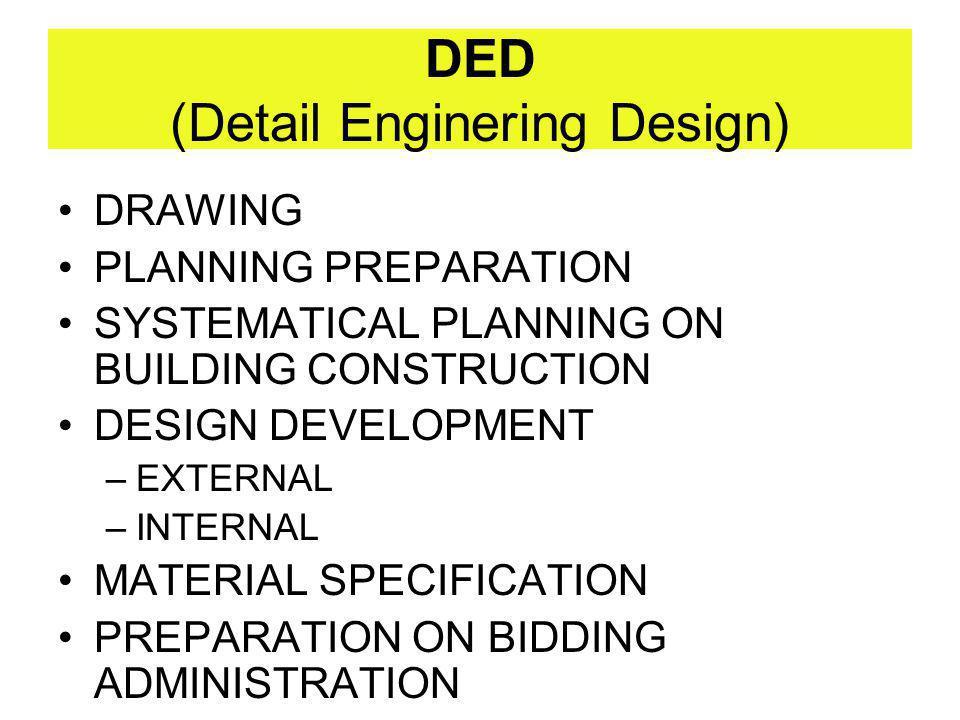DED (Detail Enginering Design) DRAWING PLANNING PREPARATION SYSTEMATICAL PLANNING ON BUILDING CONSTRUCTION DESIGN DEVELOPMENT –EXTERNAL –INTERNAL MATE