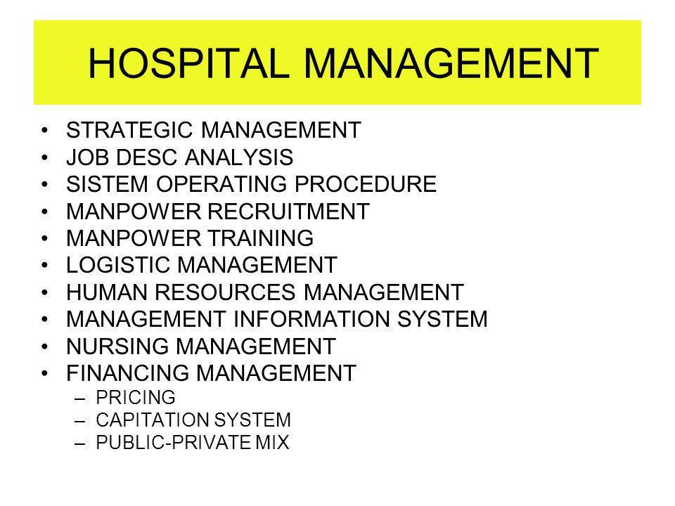 HOSPITAL MANAGEMENT STRATEGIC MANAGEMENT JOB DESC ANALYSIS SISTEM OPERATING PROCEDURE MANPOWER RECRUITMENT MANPOWER TRAINING LOGISTIC MANAGEMENT HUMAN