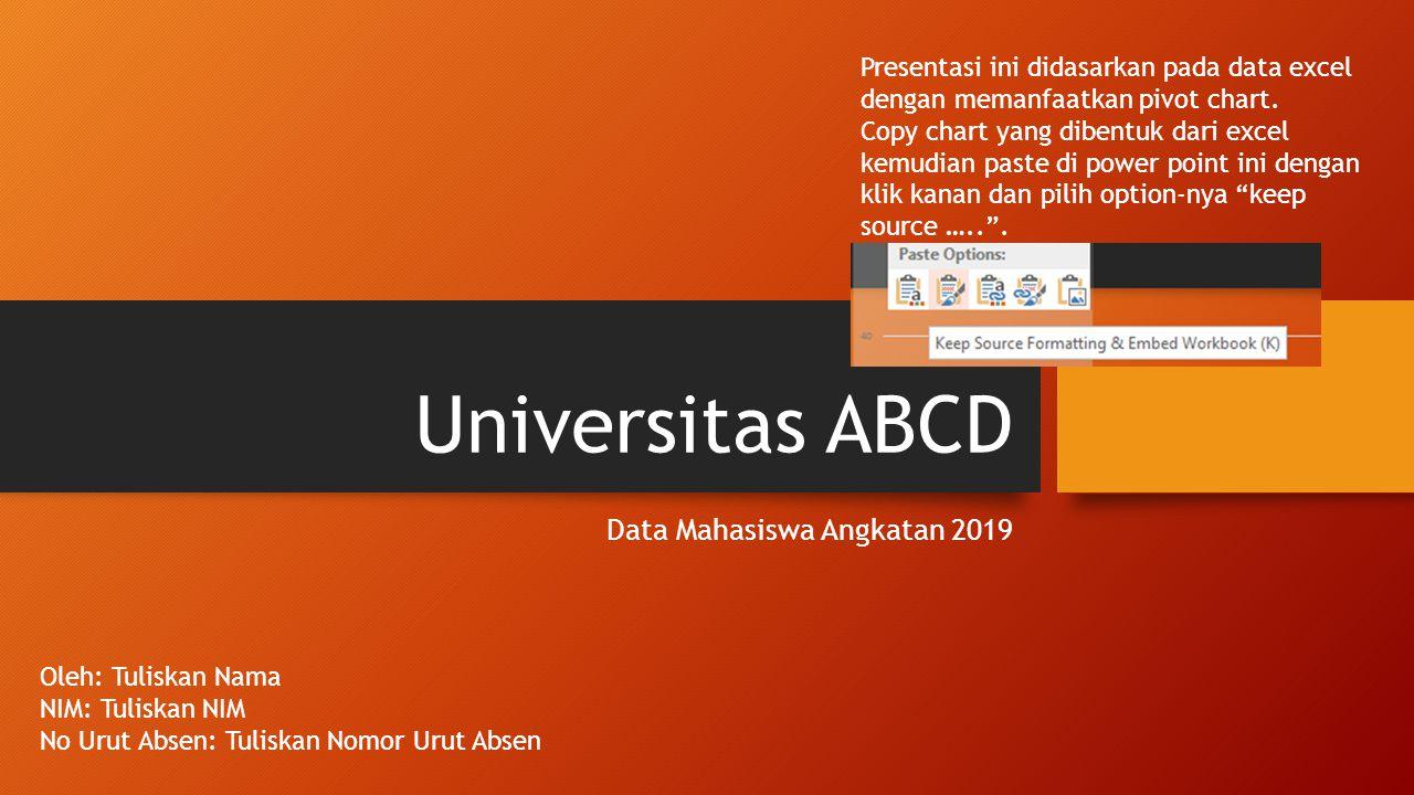 Universitas ABCD Data Mahasiswa Angkatan 2019 Oleh: Tuliskan Nama NIM: Tuliskan NIM No Urut Absen: Tuliskan Nomor Urut Absen Presentasi ini didasarkan pada data excel dengan memanfaatkan pivot chart.