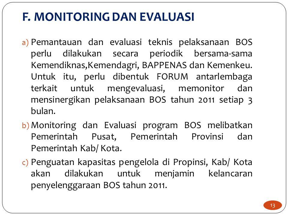 13 a) Pemantauan dan evaluasi teknis pelaksanaan BOS perlu dilakukan secara periodik bersama-sama Kemendiknas,Kemendagri, BAPPENAS dan Kemenkeu.