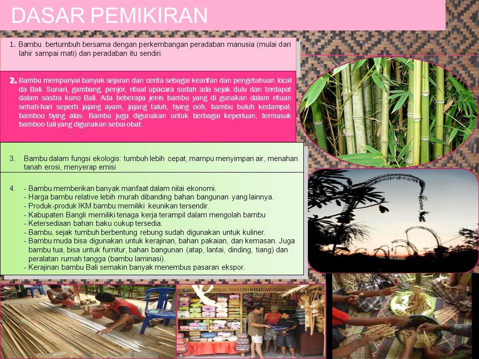 1. Bambu bertumbuh bersama dengan perkembangan peradaban manusia (mulai dari lahir sampai mati) dan peradaban itu sendiri. DASAR PEMIKIRAN 2. 2. Bambu