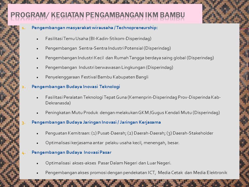 1.Pengembangan masyarakat wirausaha / Technopreneurship: Fasilitasi Temu Usaha (BI-Kadin-Stikom-Disperindag) Pengembangan Sentra-Sentra Industri Poten