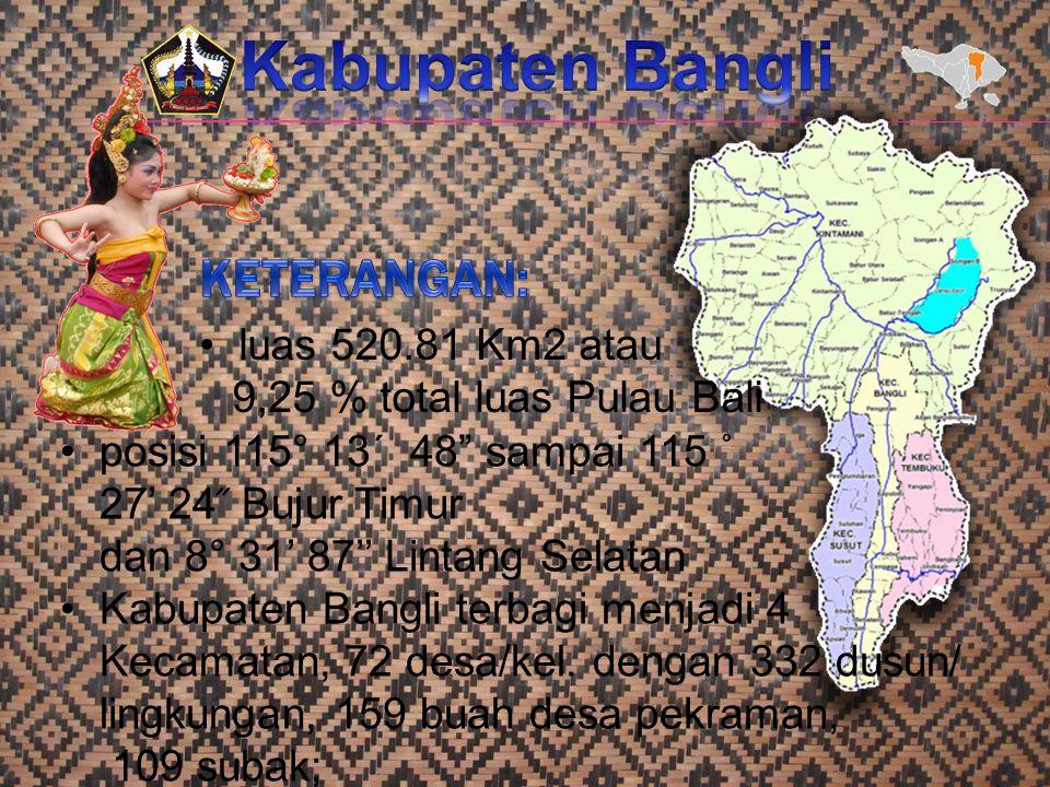 """luas 520.81 Km2 atau 9,25 % total luas Pulau Bali posisi 115° 13´ 48"""" sampai 115 ˚ 27' 24 ̋ Bujur Timur dan 8° 31' 87'' Lintang Selatan Kabupaten Bang"""