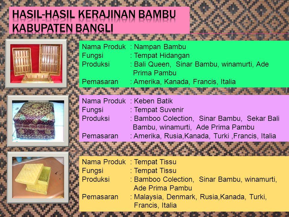 20 Nama Produk : Nampan Bambu Fungsi: Tempat Hidangan Produksi: Bali Queen, Sinar Bambu, winamurti, Ade Prima Pambu Pemasaran: Amerika, Kanada, Franci
