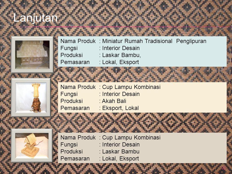 22 Nama Produk : Miniatur Rumah Tradisional Penglipuran Fungsi: Interior Desain Produksi: Laskar Bambu, Pemasaran: Lokal, Eksport Nama Produk : Cup La
