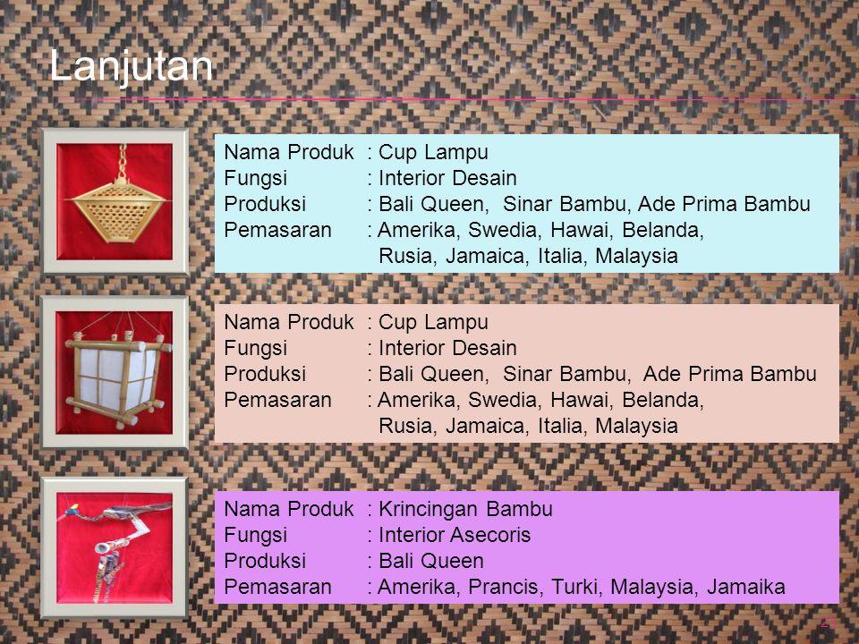 23 Nama Produk : Cup Lampu Fungsi: Interior Desain Produksi: Bali Queen, Sinar Bambu, Ade Prima Bambu Pemasaran: Amerika, Swedia, Hawai, Belanda, Rusi