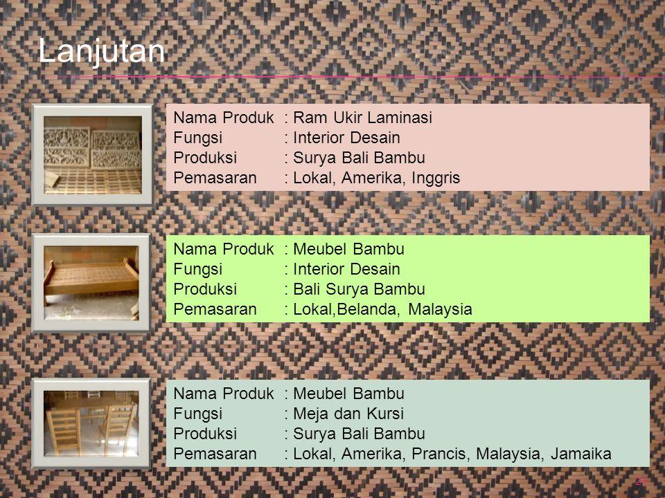 24 Nama Produk : Ram Ukir Laminasi Fungsi: Interior Desain Produksi: Surya Bali Bambu Pemasaran: Lokal, Amerika, Inggris Nama Produk : Meubel Bambu Fu