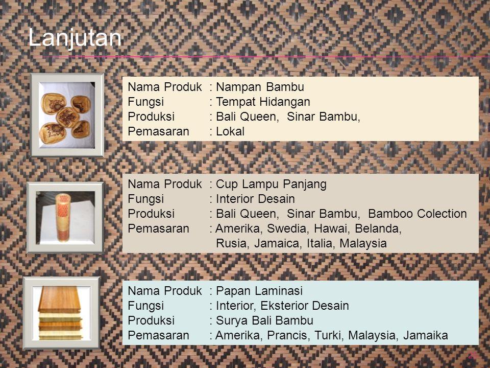 25 Nama Produk : Nampan Bambu Fungsi: Tempat Hidangan Produksi: Bali Queen, Sinar Bambu, Pemasaran: Lokal Nama Produk : Cup Lampu Panjang Fungsi: Inte