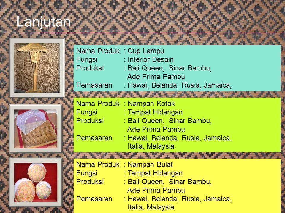 28 Nama Produk : Cup Lampu Fungsi: Interior Desain Produksi: Bali Queen, Sinar Bambu, Ade Prima Pambu Pemasaran: Hawai, Belanda, Rusia, Jamaica, Nama