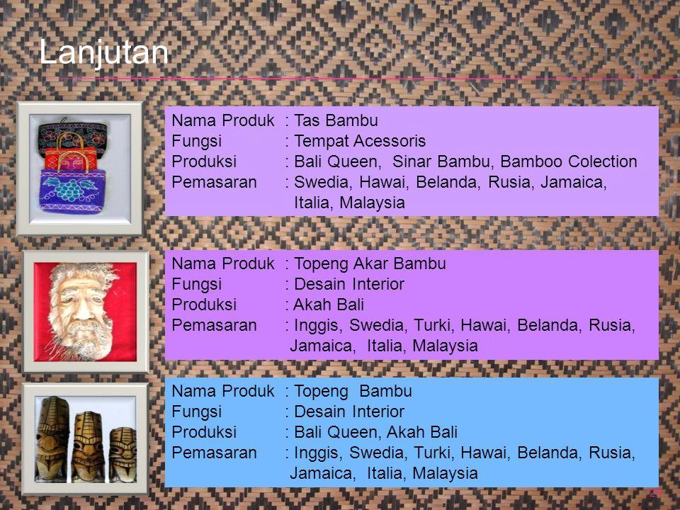 29 Nama Produk : Tas Bambu Fungsi: Tempat Acessoris Produksi: Bali Queen, Sinar Bambu, Bamboo Colection Pemasaran: Swedia, Hawai, Belanda, Rusia, Jama