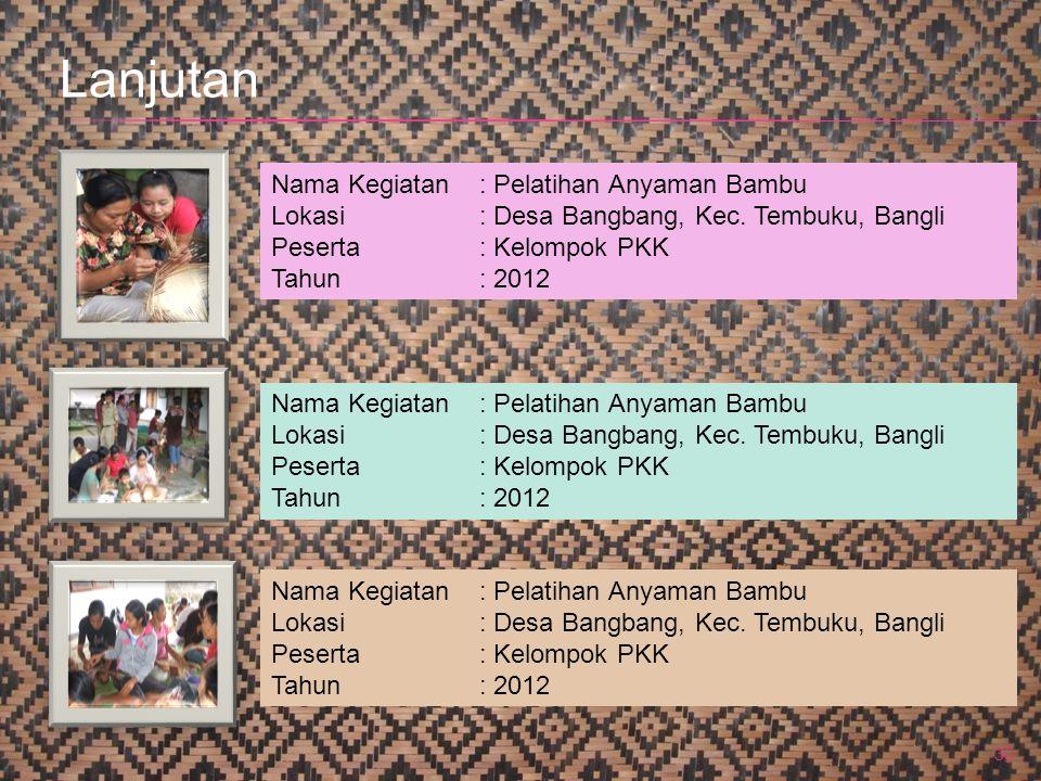30 Nama Kegiatan: Pelatihan Anyaman Bambu Lokasi: Desa Bangbang, Kec. Tembuku, Bangli Peserta: Kelompok PKK Tahun: 2012 Nama Kegiatan: Pelatihan Anyam