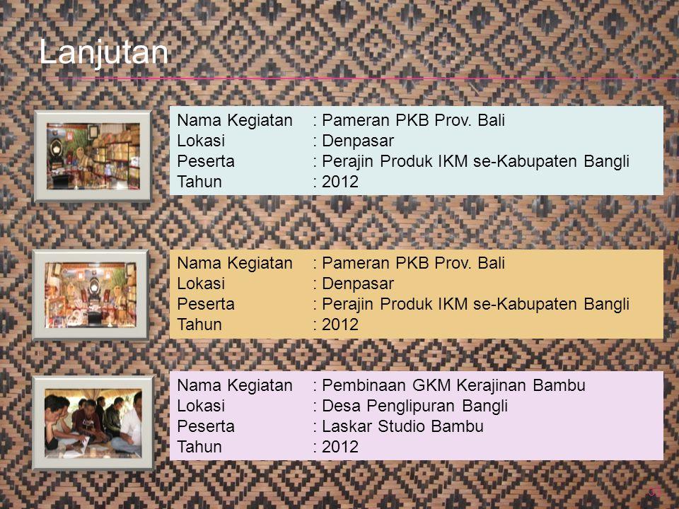 33 Nama Kegiatan: Pameran PKB Prov. Bali Lokasi: Denpasar Peserta: Perajin Produk IKM se-Kabupaten Bangli Tahun: 2012 Nama Kegiatan: Pameran PKB Prov.