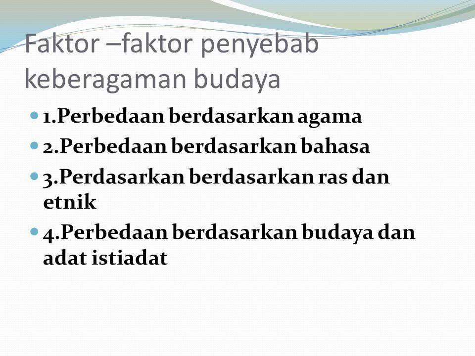 Faktor –faktor penyebab keberagaman budaya 1.Perbedaan berdasarkan agama 2.Perbedaan berdasarkan bahasa 3.Perdasarkan berdasarkan ras dan etnik 4.Perbedaan berdasarkan budaya dan adat istiadat