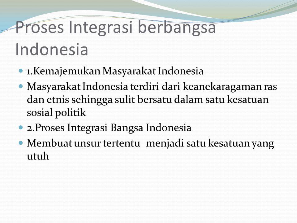 Proses Integrasi berbangsa Indonesia 1.Kemajemukan Masyarakat Indonesia Masyarakat Indonesia terdiri dari keanekaragaman ras dan etnis sehingga sulit bersatu dalam satu kesatuan sosial politik 2.Proses Integrasi Bangsa Indonesia Membuat unsur tertentu menjadi satu kesatuan yang utuh