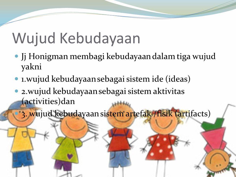 Wujud Kebudayaan Jj Honigman membagi kebudayaan dalam tiga wujud yakni 1.wujud kebudayaan sebagai sistem ide (ideas) 2.wujud kebudayaan sebagai sistem aktivitas (activities)dan 3.