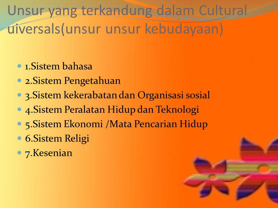 Unsur yang terkandung dalam Cultural uiversals(unsur unsur kebudayaan) 1.Sistem bahasa 2.Sistem Pengetahuan 3.Sistem kekerabatan dan Organisasi sosial 4.Sistem Peralatan Hidup dan Teknologi 5.Sistem Ekonomi /Mata Pencarian Hidup 6.Sistem Religi 7.Kesenian