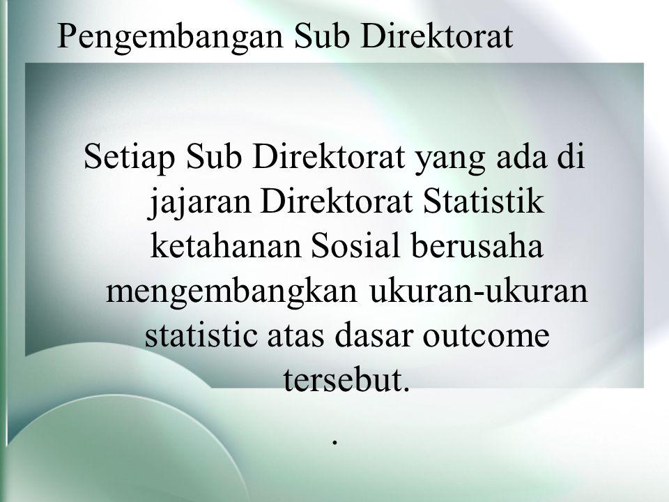 Pengembangan Sub Direktorat Setiap Sub Direktorat yang ada di jajaran Direktorat Statistik ketahanan Sosial berusaha mengembangkan ukuran-ukuran statistic atas dasar outcome tersebut..