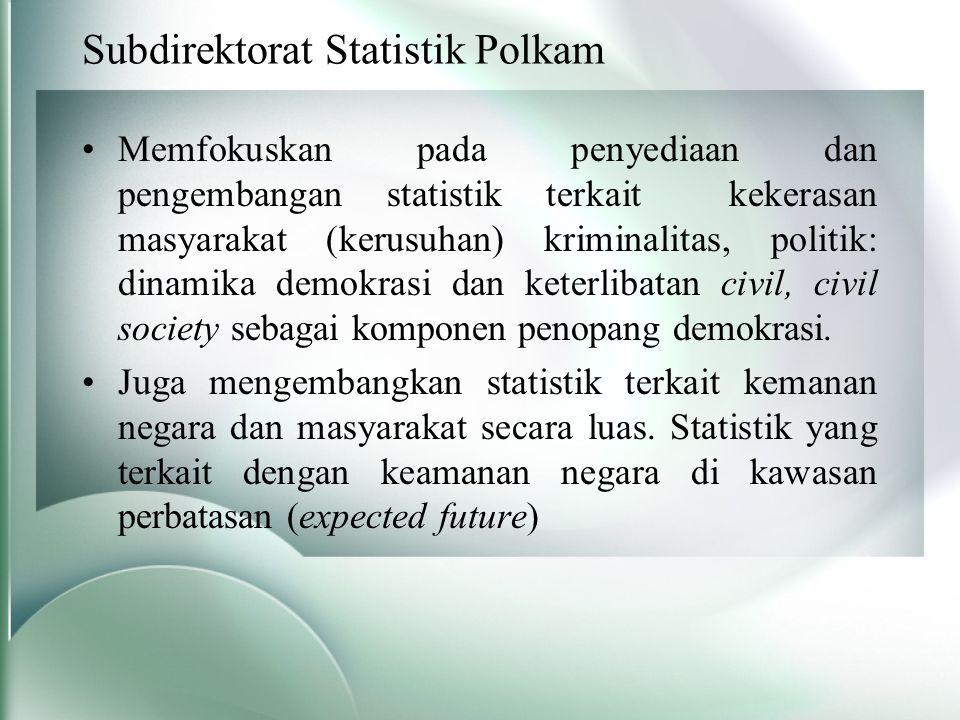 Subdirektorat Statistik Polkam Memfokuskan pada penyediaan dan pengembangan statistik terkait kekerasan masyarakat (kerusuhan) kriminalitas, politik: dinamika demokrasi dan keterlibatan civil, civil society sebagai komponen penopang demokrasi.