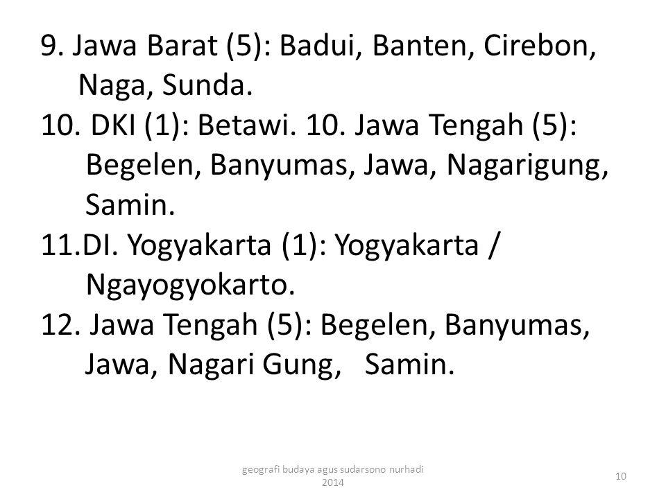 9. Jawa Barat (5): Badui, Banten, Cirebon, Naga, Sunda. 10. DKI (1): Betawi. 10. Jawa Tengah (5): Begelen, Banyumas, Jawa, Nagarigung, Samin. 11.DI. Y