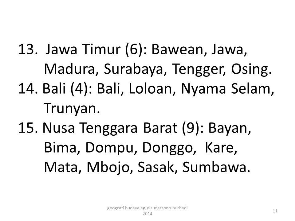 13. Jawa Timur (6): Bawean, Jawa, Madura, Surabaya, Tengger, Osing. 14. Bali (4): Bali, Loloan, Nyama Selam, Trunyan. 15. Nusa Tenggara Barat (9): Bay