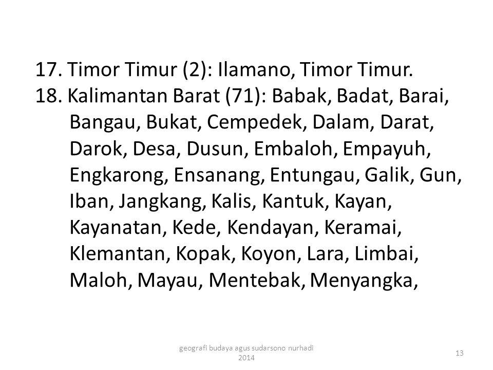 17. Timor Timur (2): Ilamano, Timor Timur. 18. Kalimantan Barat (71): Babak, Badat, Barai, Bangau, Bukat, Cempedek, Dalam, Darat, Darok, Desa, Dusun,