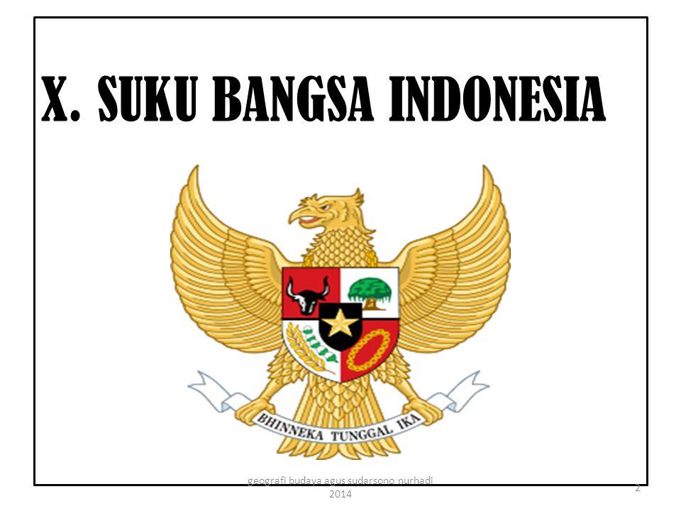 X. SUKU BANGSA INDONESIA 2 geografi budaya agus sudarsono nurhadi 2014