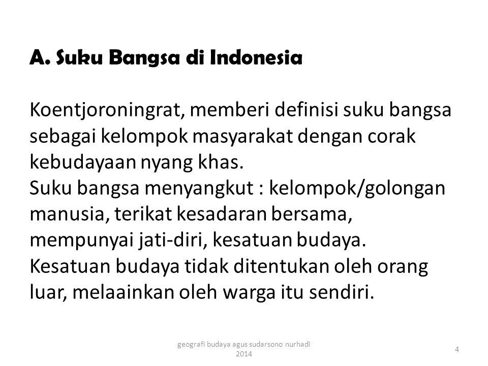 A. Suku Bangsa di Indonesia Koentjoroningrat, memberi definisi suku bangsa sebagai kelompok masyarakat dengan corak kebudayaan nyang khas. Suku bangsa