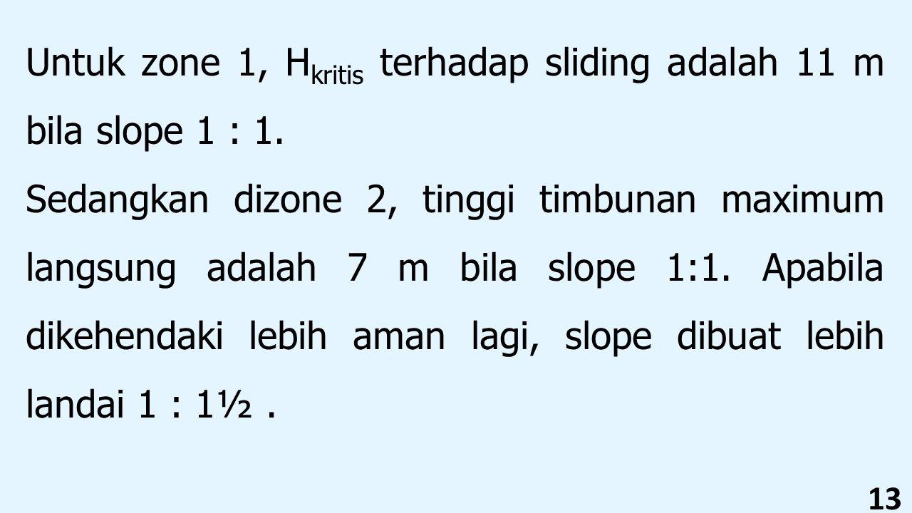 13 Untuk zone 1, H kritis terhadap sliding adalah 11 m bila slope 1 : 1. Sedangkan dizone 2, tinggi timbunan maximum langsung adalah 7 m bila slope 1: