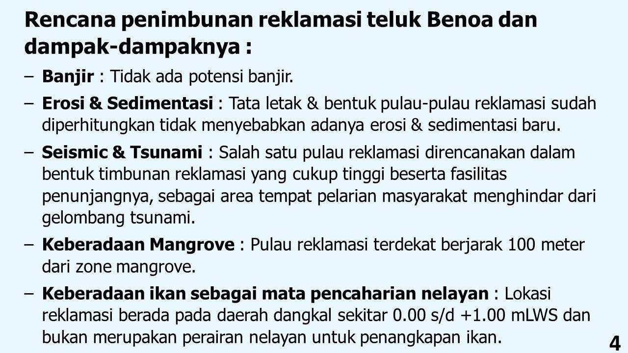 4 Rencana penimbunan reklamasi teluk Benoa dan dampak-dampaknya : –Banjir : Tidak ada potensi banjir. –Erosi & Sedimentasi : Tata letak & bentuk pulau