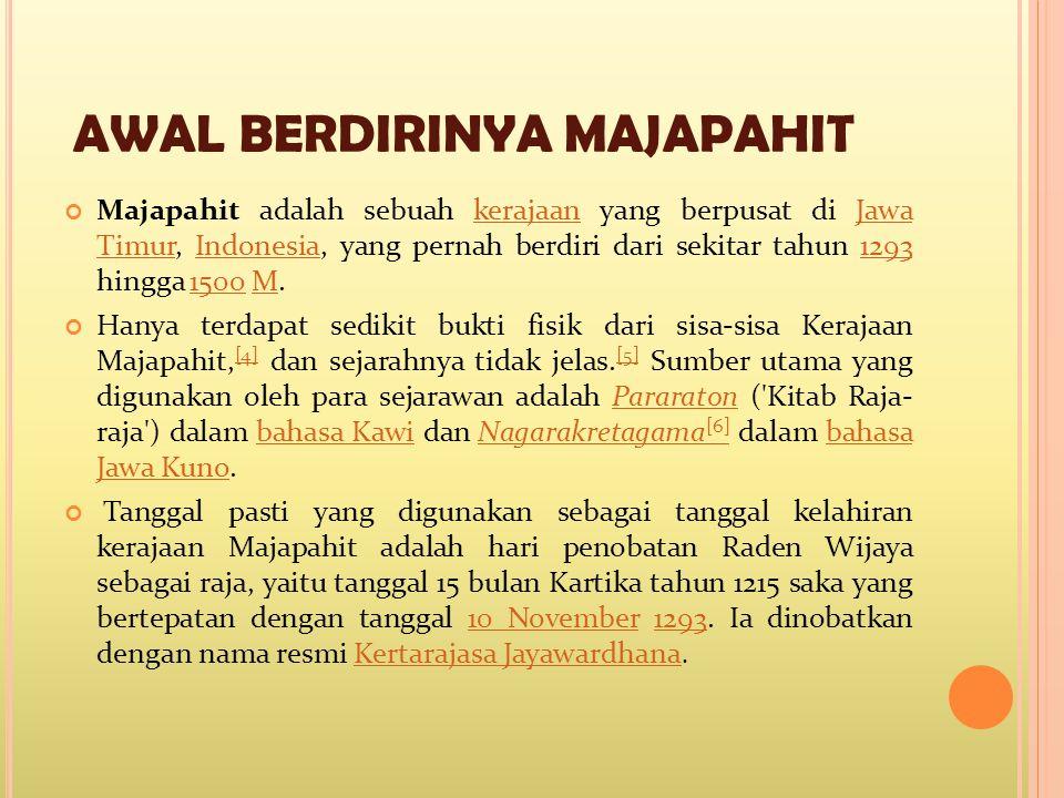MASA KEJAYAAN MAJAPAHIT Hayam Wuruk, juga disebut Rajasanagara, memerintah Majapahit dari tahun 1350 hingga 1389.