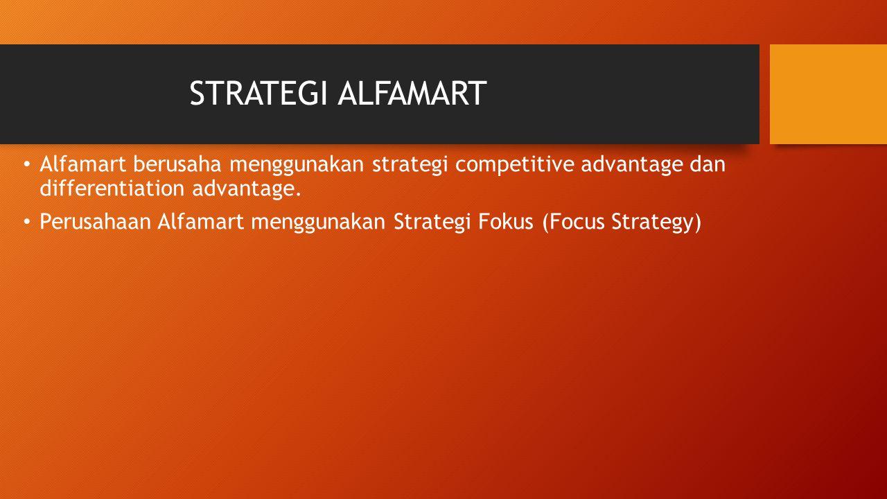STRATEGI ALFAMART Alfamart berusaha menggunakan strategi competitive advantage dan differentiation advantage. Perusahaan Alfamart menggunakan Strategi