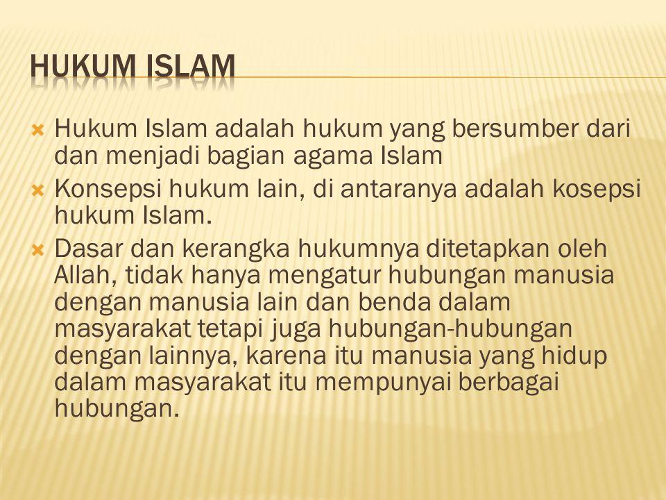  Hukum Islam adalah hukum yang bersumber dari dan menjadi bagian agama Islam  Konsepsi hukum lain, di antaranya adalah kosepsi hukum Islam.