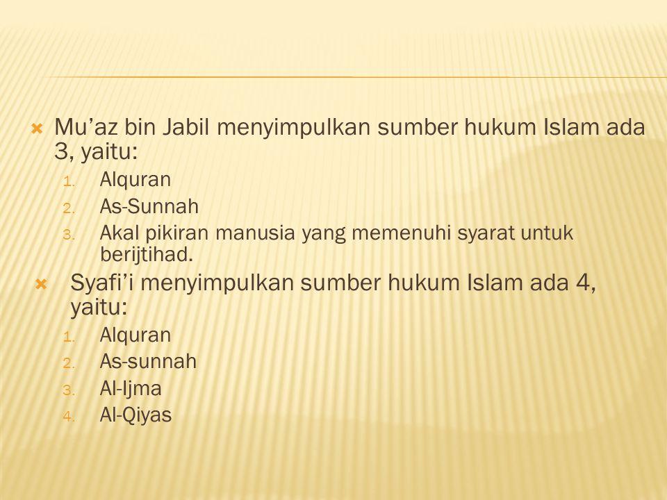  Mu'az bin Jabil menyimpulkan sumber hukum Islam ada 3, yaitu: 1.