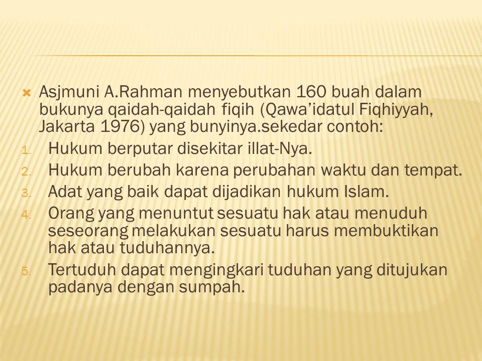  Asjmuni A.Rahman menyebutkan 160 buah dalam bukunya qaidah-qaidah fiqih (Qawa'idatul Fiqhiyyah, Jakarta 1976) yang bunyinya.sekedar contoh: 1.