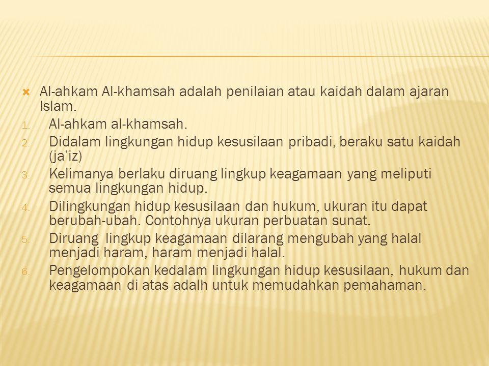  Al-ahkam Al-khamsah adalah penilaian atau kaidah dalam ajaran Islam.