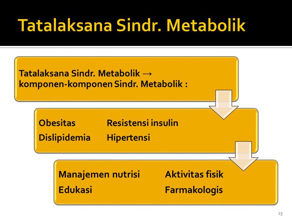 Tatalaksana Sindr. Metabolik → komponen-komponen Sindr. Metabolik : ObesitasResistensi insulin DislipidemiaHipertensi Manajemen nutrisiAktivitas fisik
