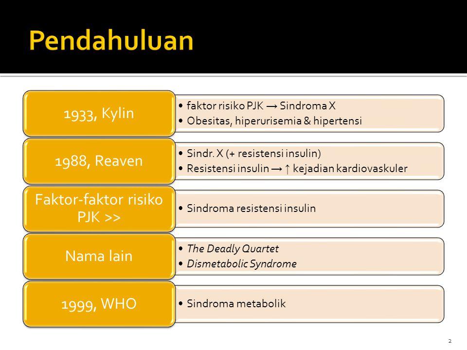 NCEP ATP III, 2001 : sekelompok kelainan metabolik yg merupakan faktor risiko PJK Obesitas (sentral) Dislipidemia (aterogenik) Hipertensi Glukosa plasma abnormal Resistensi insulin : ggn respon biologis thd insulin → ↑ insulin agar glukosa plasma normal 3
