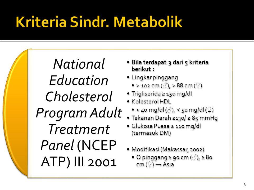 International Diabetes Federation (IDF) 2005 Obesitas sentral / lingkar pinggang ↑ sesuai populasi (+ 2 kriteria berikut) : Trigliserida ≥ 150 mg/dl (atau dlm pengobatan) Kolesterol HDL < 40 mg/dl ( ♂ ) atau < 50 mg/dl ( ♀ ), atau dlm pengobatan Tekanan Darah ≥ 130 / ≥ 85 mmHg (atau dlm pengobatan) Glukosa Darah Puasa ≥ 100 mg/dl (termasuk DM) 9