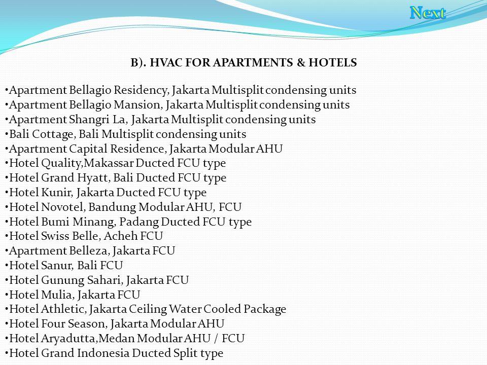 Apartment Bellagio Residency, Jakarta Multisplit condensing units Apartment Bellagio Mansion, Jakarta Multisplit condensing units Apartment Shangri La
