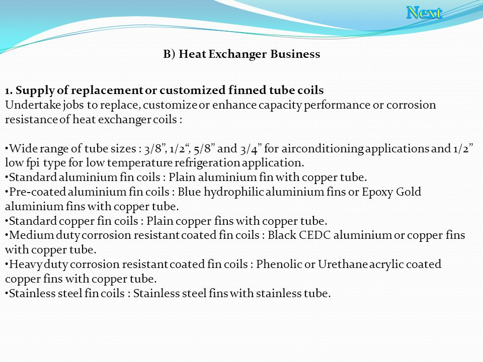 B) Heat Exchanger Business 1.