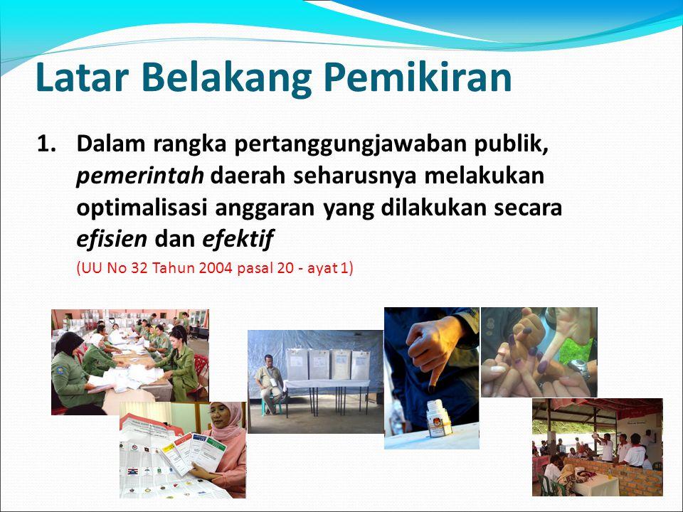 Latar Belakang Pemikiran 1.Dalam rangka pertanggungjawaban publik, pemerintah daerah seharusnya melakukan optimalisasi anggaran yang dilakukan secara