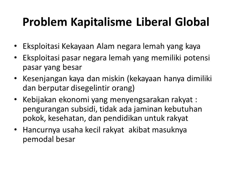 Problem Kapitalisme Liberal Global Eksploitasi Kekayaan Alam negara lemah yang kaya Eksploitasi pasar negara lemah yang memiliki potensi pasar yang be
