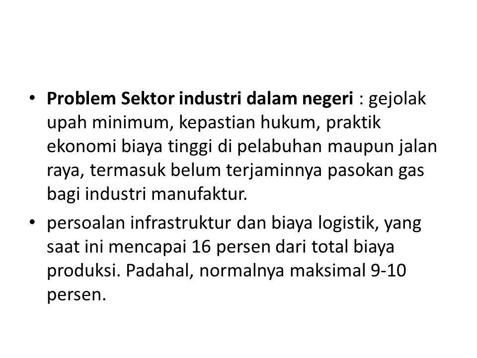 Problem Sektor industri dalam negeri : gejolak upah minimum, kepastian hukum, praktik ekonomi biaya tinggi di pelabuhan maupun jalan raya, termasuk be