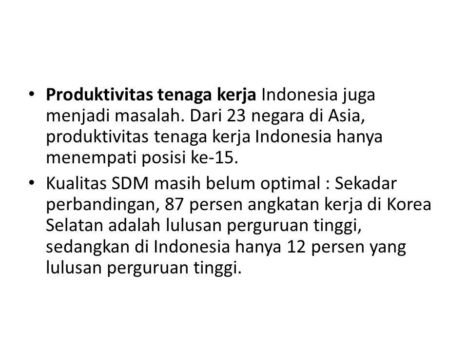 Produktivitas tenaga kerja Indonesia juga menjadi masalah. Dari 23 negara di Asia, produktivitas tenaga kerja Indonesia hanya menempati posisi ke-15.