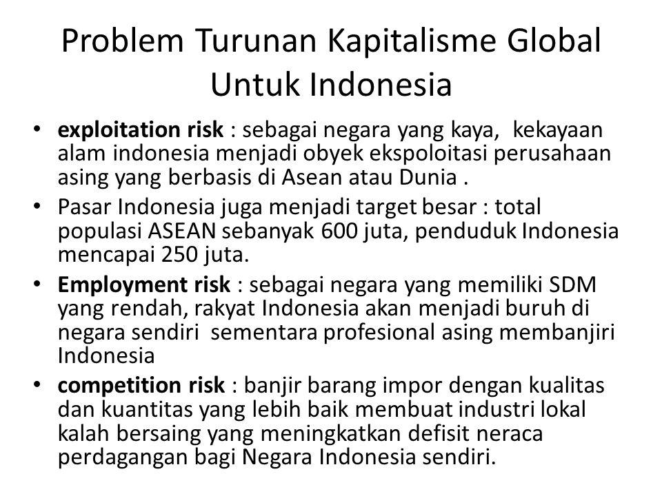 Problem Turunan Kapitalisme Global Untuk Indonesia exploitation risk : sebagai negara yang kaya, kekayaan alam indonesia menjadi obyek ekspoloitasi perusahaan asing yang berbasis di Asean atau Dunia.